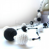 Long Necklace In The Night Black And White Crochet Necklace