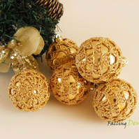 3 Crocheted Baubles In Gold Colour Christmas Decorations