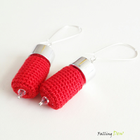 Crochet Earrings In Red Colour