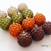 Crocheted Baubles in Gold, Orange,Brown, Green Christmas Tree Decorations