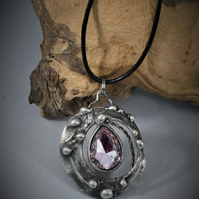 Pink stone Pendant, Chunky style silver tone on leather cord