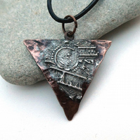 Hammered and Stamped Copper Pendant, with an 'aged' finish