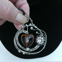 Brown Heart Swirl, Handmade Soldered Pendant with heart, Balls, and diamantes