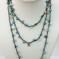 "Fluorite Gemstone chips and Painted Beads on crochet 55"" long necklace cord"