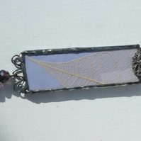 Soldered Glass Pendant with Skeleton Leaves, 2 sided Purple and Natural leaves