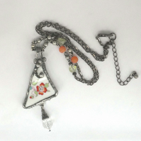 Ceramic Pendant of Flower, Lead free Solder and Dropper, and gemstone beads