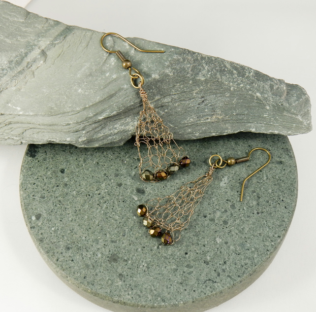 Drop Earrings in Hand knitted Wire in a Bronze tone with Toning Crystals. Sale