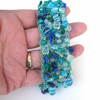 "Knitted Cord Beaded Cuff in mix of Turquoise Coloured Beads, 7.5"" - 9"" size"