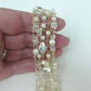 Beaded Knitted Wire Cuff - Ice and Pearls in Champagne, very pretty