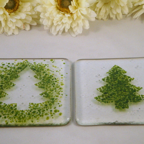 Pair of Christmas Tree Coasters
