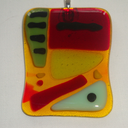 Fused glass pendant - abstract