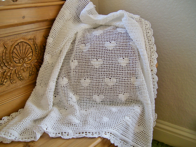 Crochet Patterns For Shawls For Babies : Crochet Baby Heart Shawl - Folksy