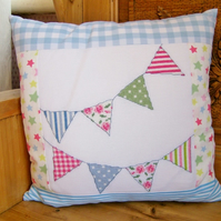 Patchwork cushion made with Cath Kidston fabric