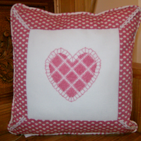 NEW Hearts & lace cross stitch Cushion.
