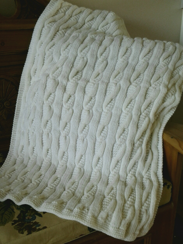 Vintage Handknitted Cable Blanket