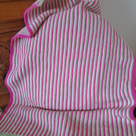 Stripy Hand Knitted Blanket