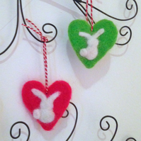 Felted bunny heart decorations