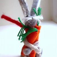 Charlie Carrotnapper hand-felted bunny