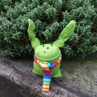 Green Sock Bunny and Lovely Scarf