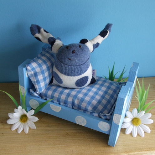 Blue Stackable Wooden Bed for tired Sock Bunnies