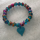 Oily Drizzle Bead Stretch Bracelet, Teal, Pink and Gold Drizzle and a Teal Heart