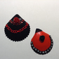 Gothic Shells - Black with red chain and rhinestones and Red with Black