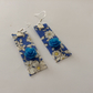 Blue Fabric Earrings with blue acrylic beads