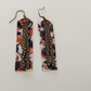 Brown flowery fabric earrings with faux leather embellishments