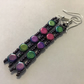 Multi Dangle Duo Bead Earrings of purple's pinks and greens
