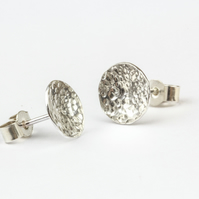 Moon Style Textured Silver Stud Earrings