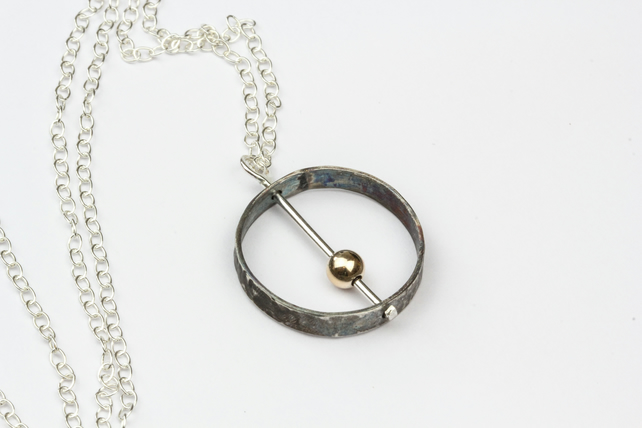 Contemporary Orbit Pendant, Silver and Gold