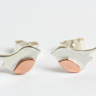 Silver and Copper Robin Earrings