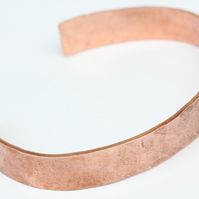 Hammered and textured rustic copper bangle - unisex