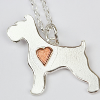 Schnauzer dog silver necklace