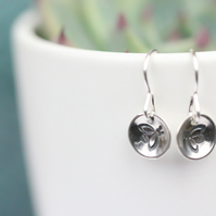 Cute sterling silver drop bee earrings