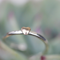 Sweetheart silver open ring with brass heart