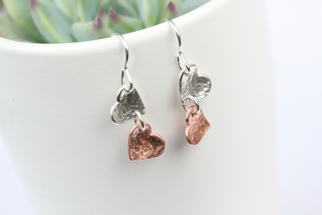 Silver an copper multiple hearts dangle earrings