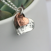 Two heart silver and copper necklace - mother and child, mothers day, couple