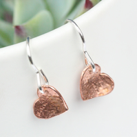 Copper love heart earrings with silver hook wires