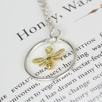 Silver and yellow gold bee pendant