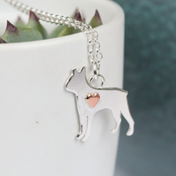 Boston terrier silver necklace with copper heart