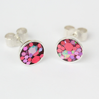 Pink red sparkle glitter sterling silver stud earrings