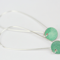 Green long drop hoop earrings