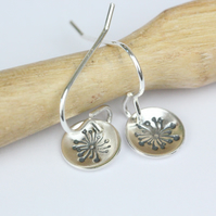 Dandelion drop sterling silver earrings