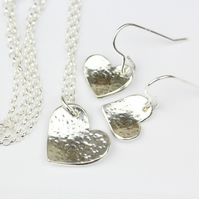 Sterling silver sweet heart gift set - necklace and earrings