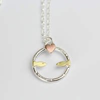 Fish in love -silver, brass and copper necklace