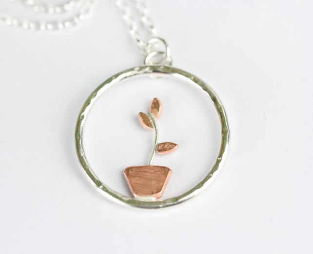 Silver and copper plant pot necklace