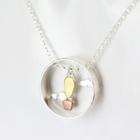 Hot air balloon and clouds necklace - silver, brass and copper