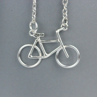 Sterling silver dainty bike necklace