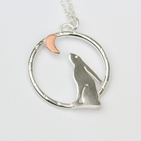 Sterling silver and copper moon glazing hare necklace